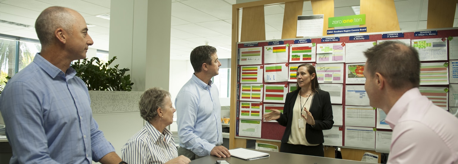 a lady talking to 4 people in front of the board about safety